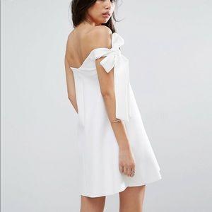 ASOS One Shoulder Bow Trapeze Mini Dress